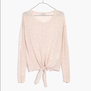 NWOT Madewell Modern Tie Front Sweater in Cream